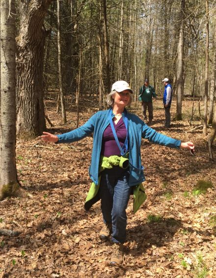 Lawrie Keillor-Faulkner on the trails at Ayottes Point Woods